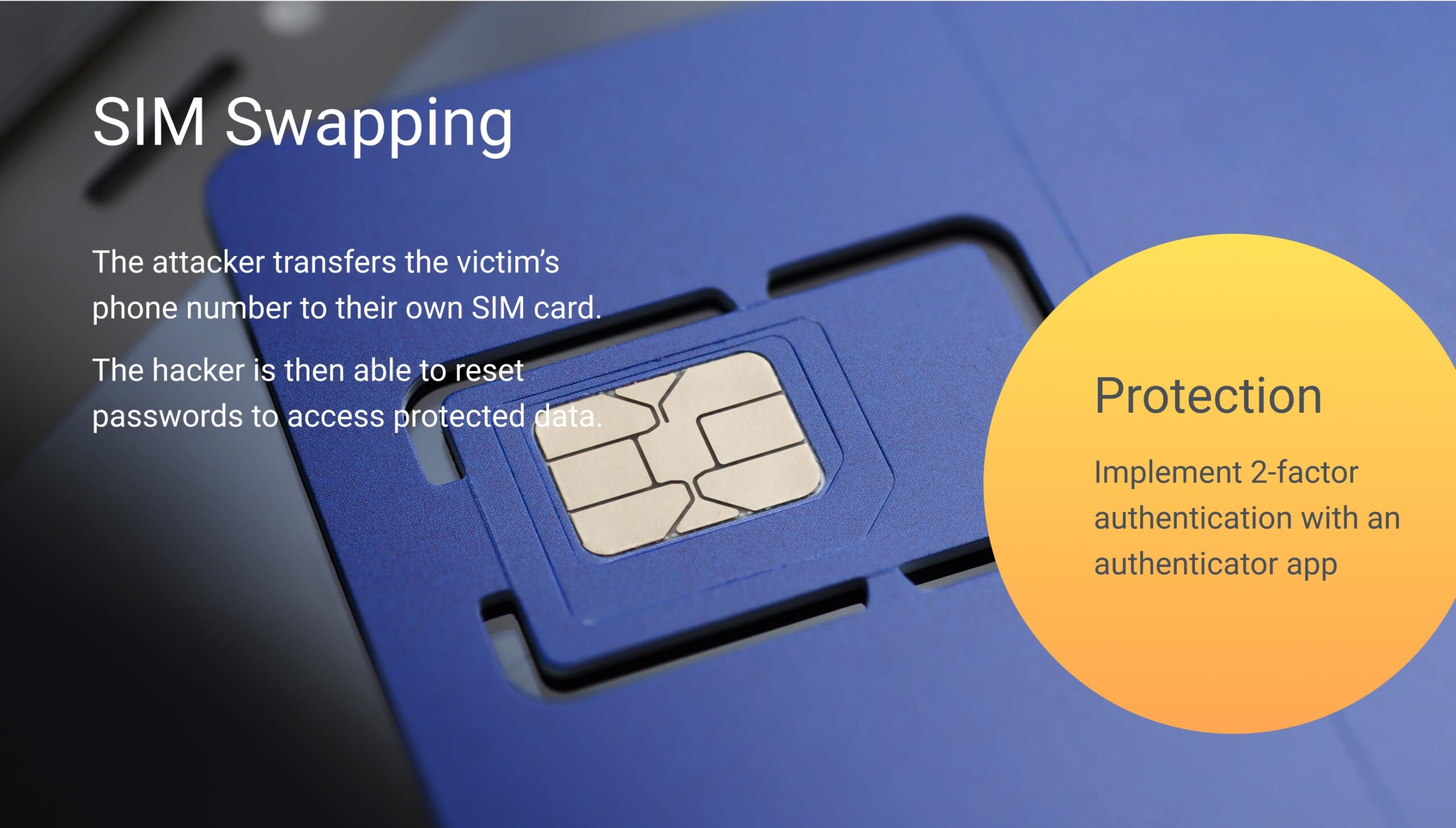 SIM swapping, also known as SIM jacking