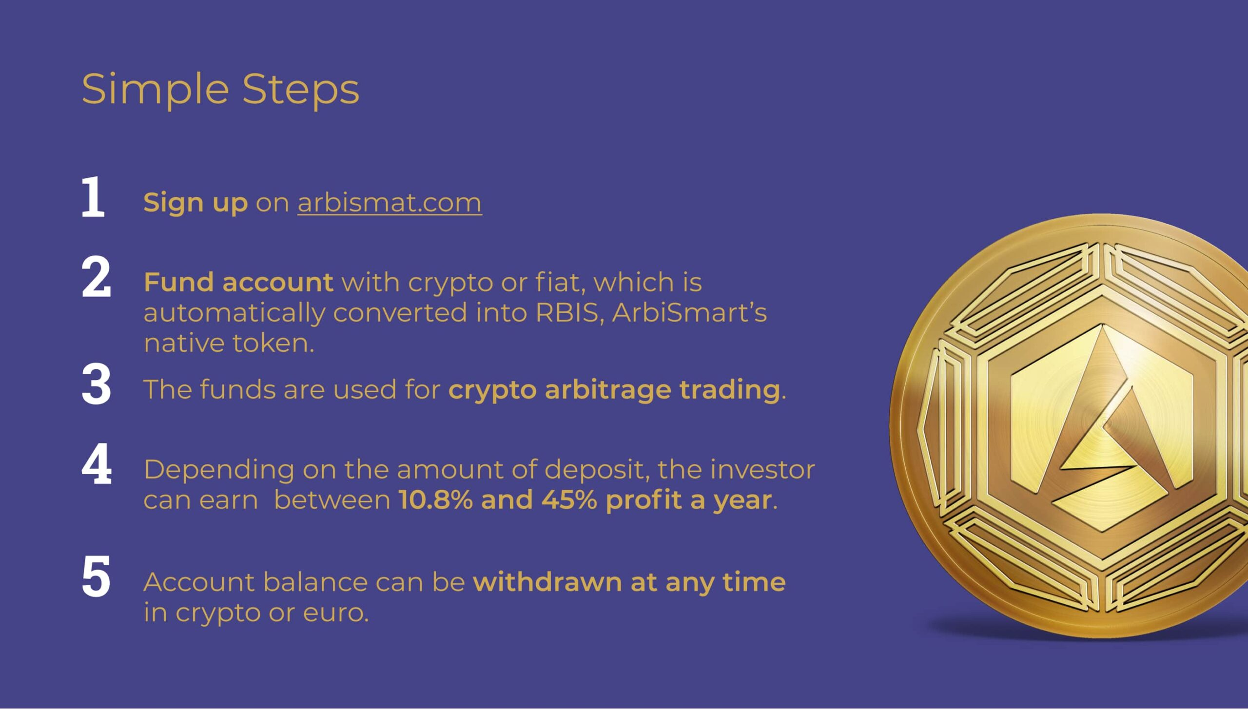 steps to open account on arbismart, how to start earning money with crypto